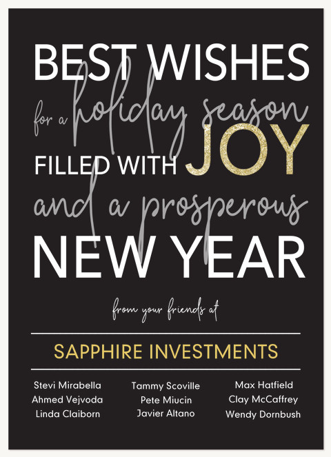Typographic Year Business Holiday Cards