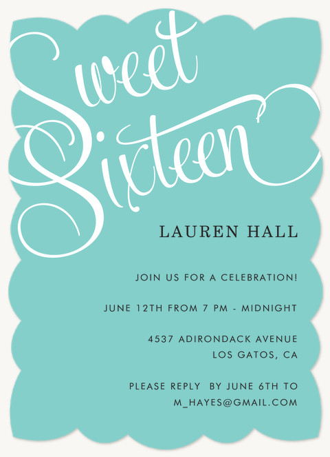 Simply Sixteen Teen Birthday Invitations