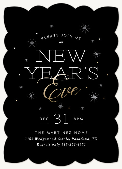 Sparkling New Year Holiday Party Invitations