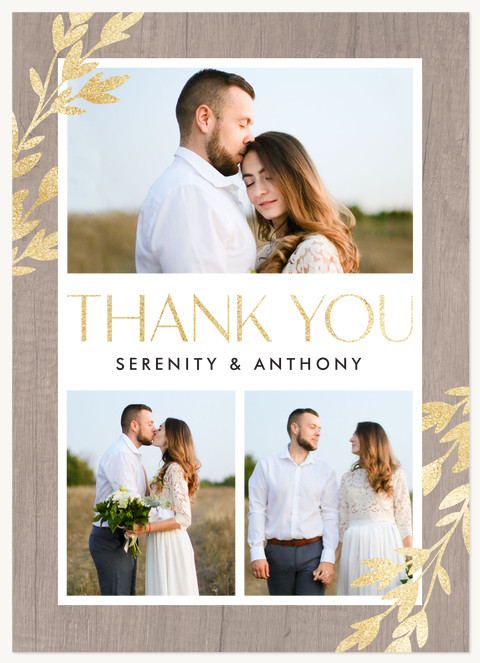 Golden Greenery Thank You Cards